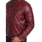 Gents Fitted Biker Leather Jacket Django Burgundy Feature 2