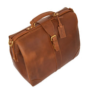 Genuine Leather Doctors Briefcase Gladstone Bag Duke Tan Top Front