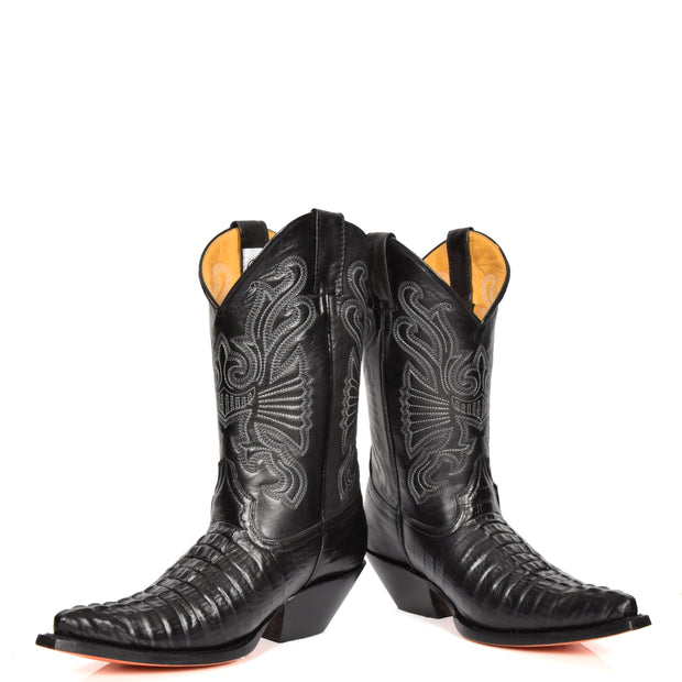 Real Leather Pointed Toe Croc Print Cowboy Boots AC229 Black Pair 1