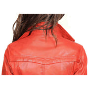 Womens Soft Leather Trench Coat Olivia Red Feature 3