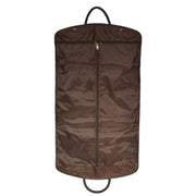 Genuine Soft Leather Suit Carrier Dress Garment Bag A173 Brown Back Open