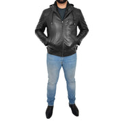 Mens Real Black Leather Hooded Jacket Sports Fitted Biker Style Coat Barry Full