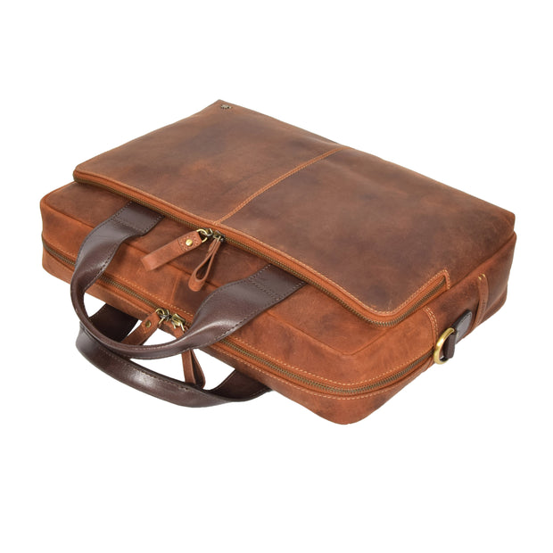 Leather Briefcase Vintage TAN Messenger Shoulder Bag Hanoi Front Letdown