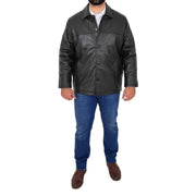 Gents Real Leather Button Box Jacket Classic Regular Fit Coat Luis Black Full