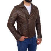 Mens Real Leather Biker Jacket Vintage Copper Rust Rub Off Slim Fit Style Max Front 2