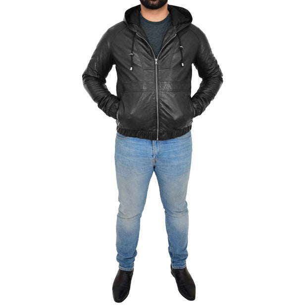 Mens Real Black Leather Bomber Hoodie Jacket Sports Fitted Coat Kent Full