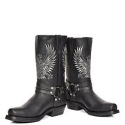 Real Leather Square Toe Cowboy Biker Boots AE33 Black Pair 1