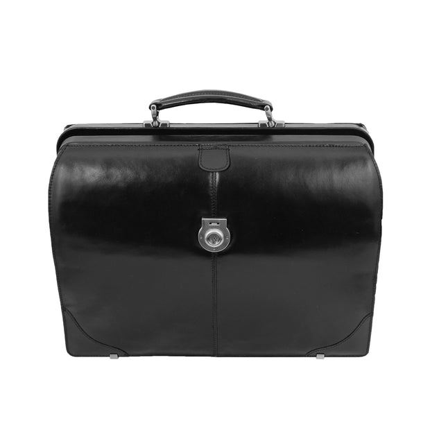 Exclusive Doctors Leather Bag Black Italian Briefcase Gladstone Bag Doc Front 3