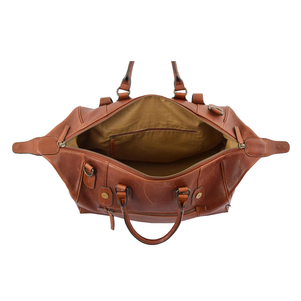 Genuine Vintage Chestnut Leather Holdall Travel Duffle Weekend Bag Rove Open