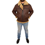 Mens Brown Real Sheepskin B3 Flying Bomber Jacket Shearling Aviator Pilot Coat Larry Full