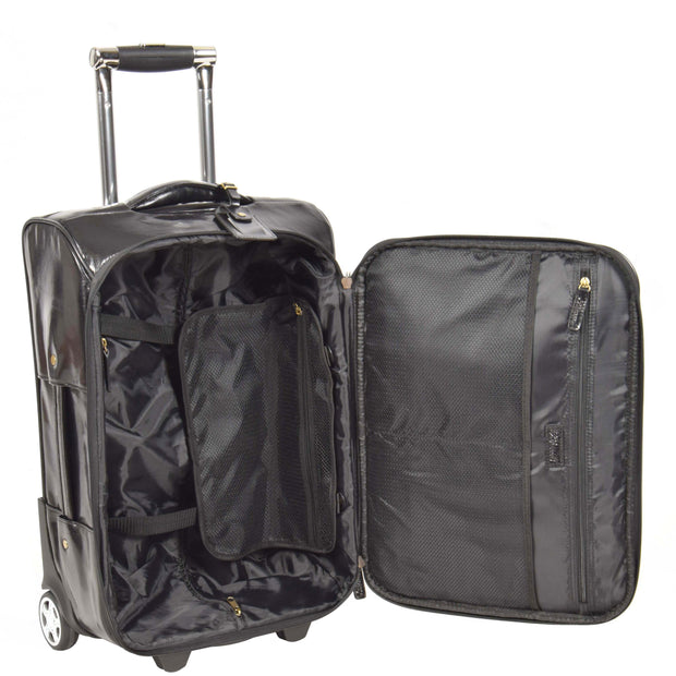 Real Leather Suitcase Cabin Trolley Hand Luggage A0518 Black Open