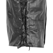Mens Genuine Cowhide Black Leather Waistcoat Laced Sides Bikers Gilet Capone Feature 1
