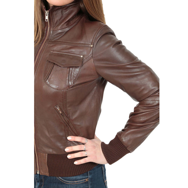 Womens Slim Fit Bomber Leather Jacket Cameron Brown Feature 1