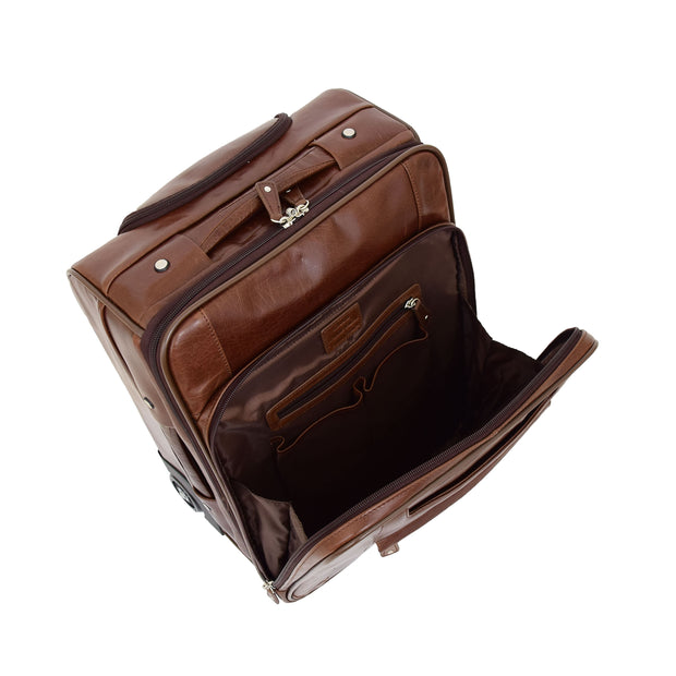 Luxurious Brown Leather Cabin Size Suitcase Hand Luggage Beverley Hills Front Open