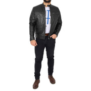 Trendy Genuine Soft Leather Biker Zipper Jacket For Men Rider Black Full