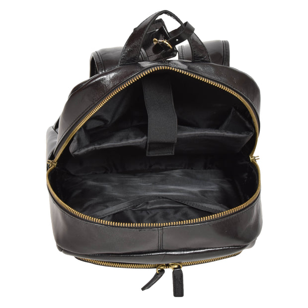 Womens Backpack Black Real Leather Large Travel Rucksack Cora Open