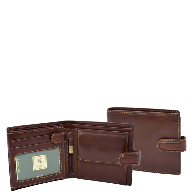 Mens Genuine Italian Leather Snap Closure Wallet AVZ5 Brown