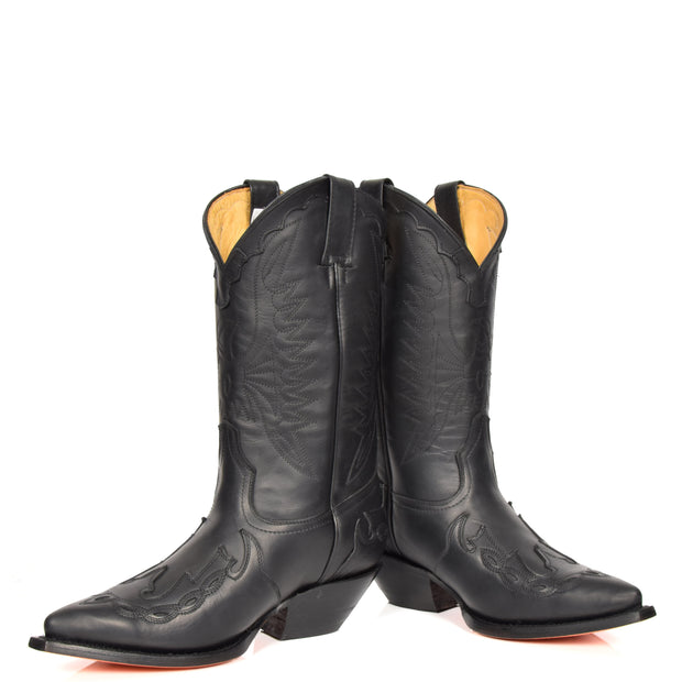 Real Leather Pointed Toe Cowboy Boots AZ350 Black Pair 1