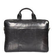 Laptop Briefcase Real Leather Business Bag Messenger Satchel Black Nice Back