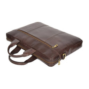 Laptop Briefcase Real Leather Business Bag Messenger Satchel Brown Nice Front Letdown