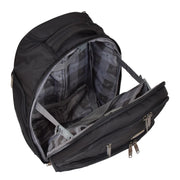 Wheeled Backpack Cabin Hand Luggage Travel Bag Hiking Rucksack Jenkins Black Open