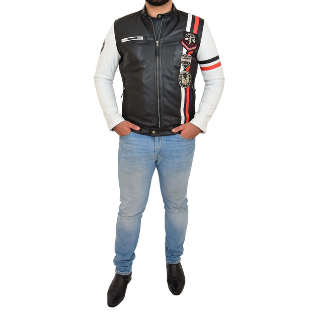 Mens Biker Leather Jacket Black White Sleeves Badges Stripes Sports Style Gears Full