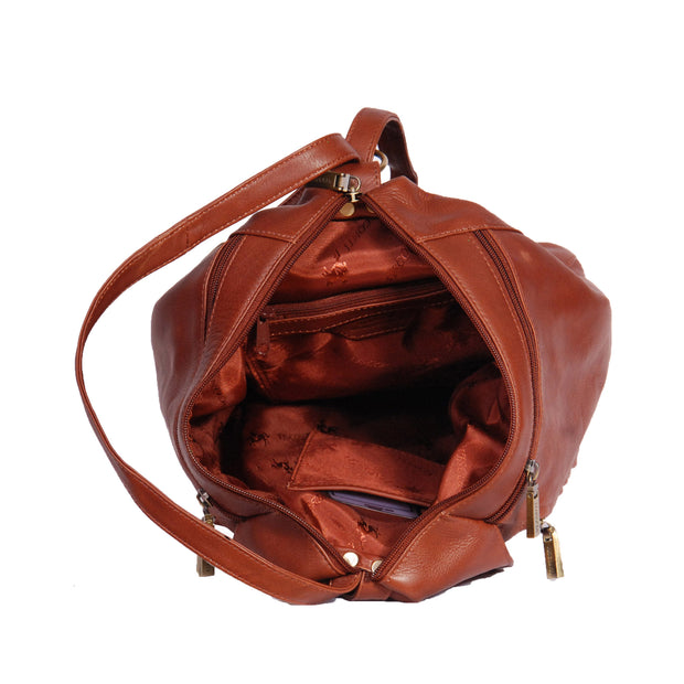 Womens Genuine Brown Leather Backpack Walking Bag A57 Top Open
