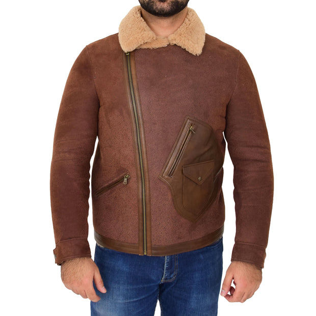 Mens Real Sheepskin Jacket Antique Flying Shearling B3 Coat Rocky Brown Front 2