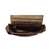 Genuine Brown Leather Bag Cross Body Vintage Flight Bag Tommy Top Open