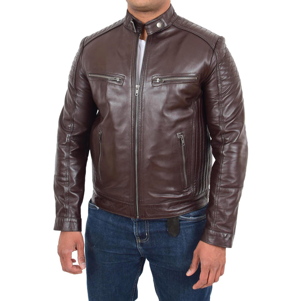 Mens Cafe Racer Biker Leather Slim Fit Jacket Teddy Brown Front 1