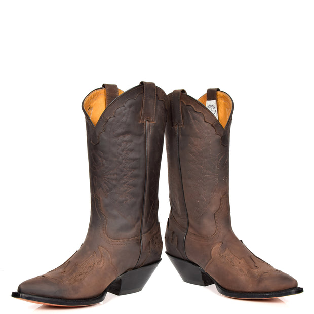 Real Leather Pointed Toe Cowboy Boots AZ350 Brown Pair