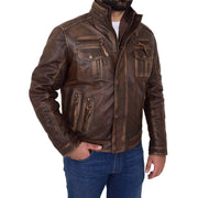 Rust Rub Off Biker Leather Jacket For Men Vintage Rugged Style Coat Mario Front 2