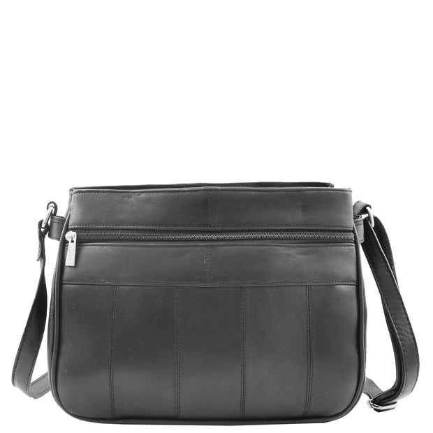 Ladies Soft Leather Crossbody Multi Zip Pockets Bag Dolores Black Back
