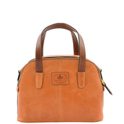 Womens Cognac Leather Tote Handbag Zip Top Smart Designer Bag Lisa Back