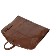 Luxury Leather Suit Carrier Bag Dress Garment Cover Finley Chestnut Front Letdown