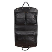 Genuine Soft Leather Suit Carrier Dress Garment Bag A173 Black Front Open