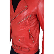 Mens Brando Biker Leather Jacket Elvis Red feat 2