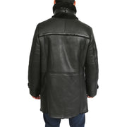 Mens Genuine Sheepskin 3/4 Long Reefer Trench Coat Bruno Black Back 2