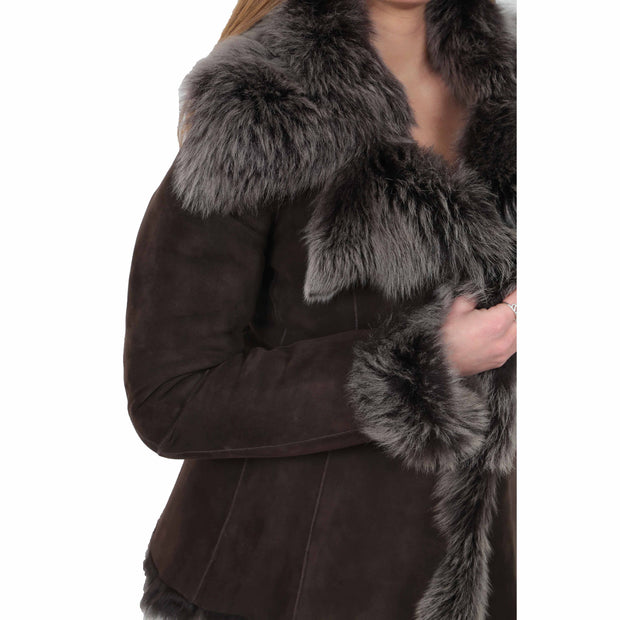 Womens Fitted Genuine Toscana Real Sheepskin Coat Pearl Brown Feature