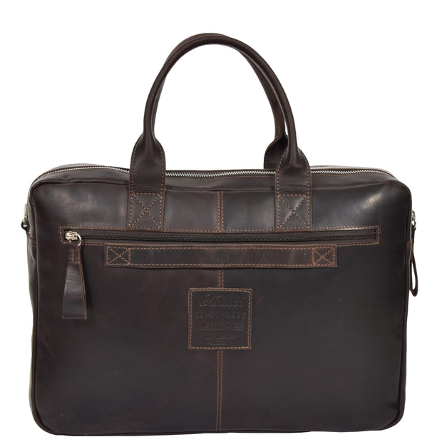 Pure Leather Briefcase Laptop Satchel Office Business Bag Otis Brown Back