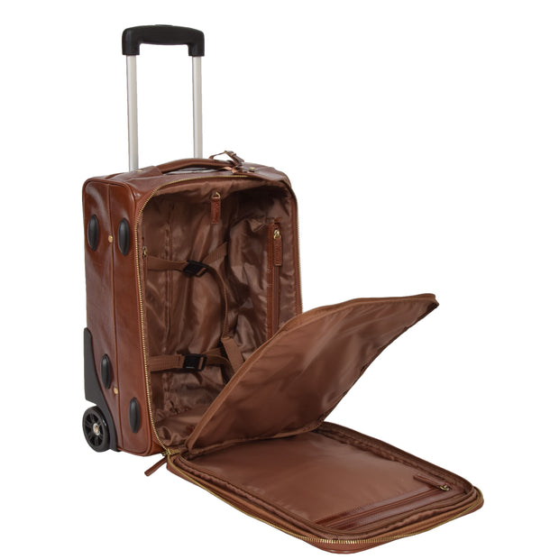 Exclusive Leather Trolley Hand Luggage Cabin Suitcase Concorde Chestnut Open 1