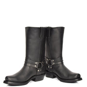 Real Leather Square Toe Cowboy Biker Boots AR69 Black Pair 1
