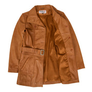 Womens Real Leather Mid Length Trench Parka Coat Alba Tan Lining