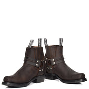 Real Leather Square Toe Cowboy Ankle Boots AR70 Brown Pair 1
