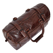 Brown Luxury Leather Holdall Travel Duffle Weekend Cabin Bag Targa Top