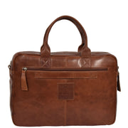 Pure Leather Briefcase Laptop Satchel Office Business Bag Otis Cognac Back