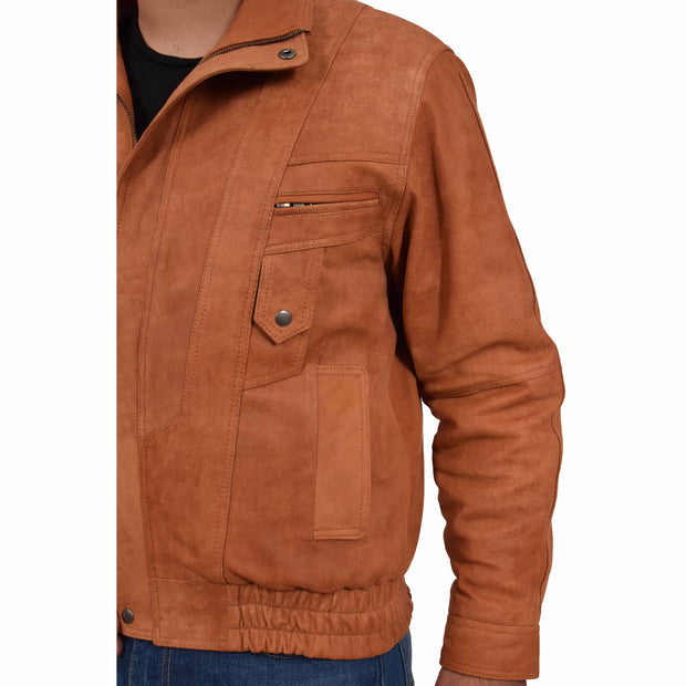 Mens Classic Bomber Nubuck Leather Jacket Alan Tan feature 1