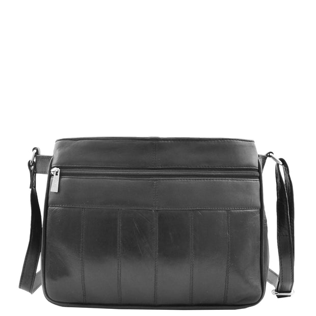 Ladies Soft Black Leather Crossbody Bag Twin Zip Top Casual Organiser Edwina Back