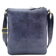 Womens Genuine Soft Vintage Leather Crossbody Messenger Bag Jill Navy 1