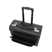 Wheeled Pilot Case Black Faux Leather Briefcase Business Rep Cabin Bag Dallas Front Open